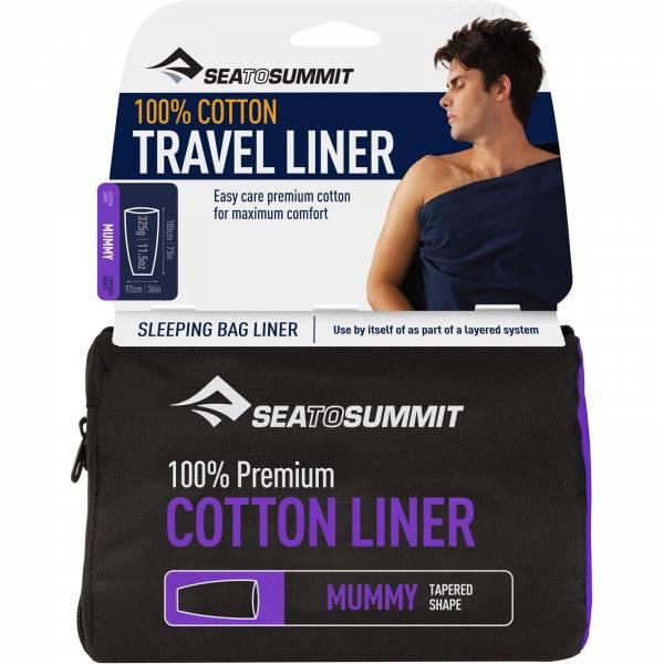 Sea to Summit Premium Cotton Travel Liner Mummy - Inlet navy blue - Bild 1