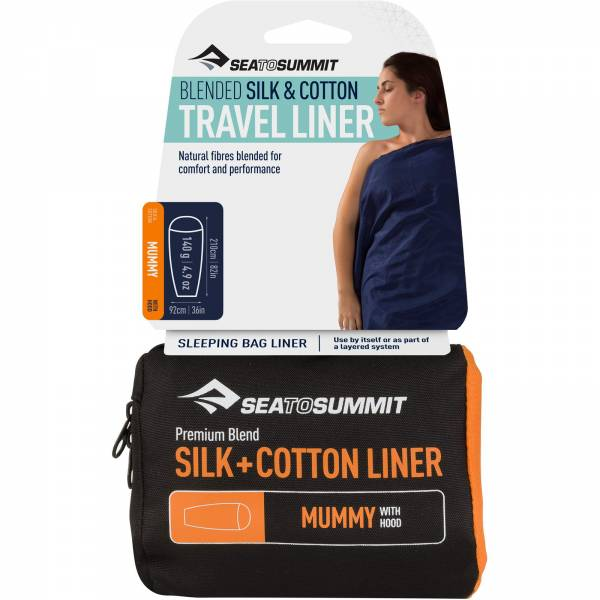 Sea to Summit Silk Cotton Travel Liner Mummy Hood navy blue - Bild 1