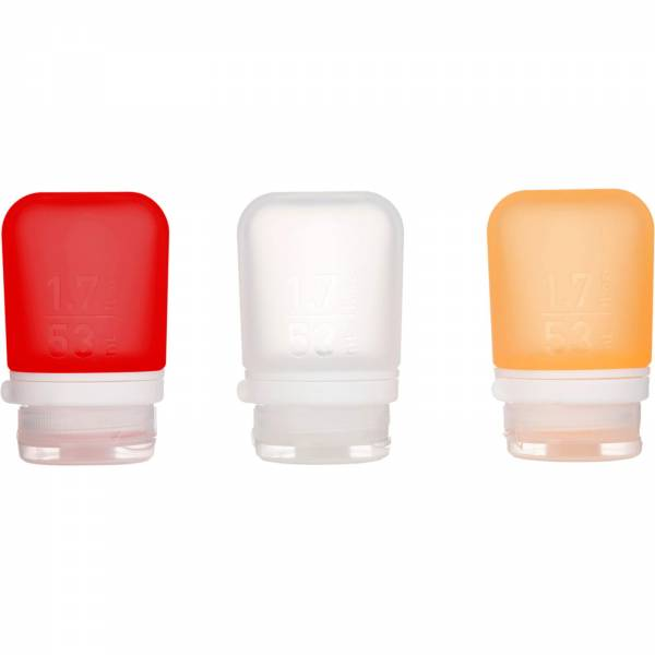 humangear GoToob+ 3er Pack - 3 x 53 ml Tube transparent-rot-orange - Bild 2